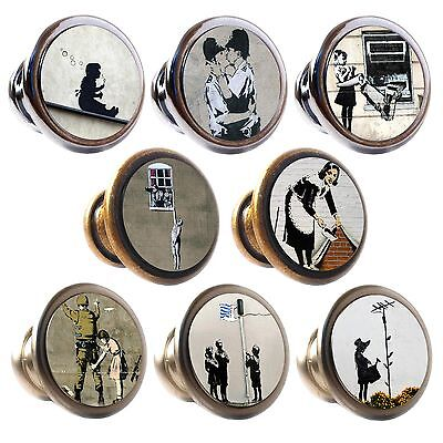 Zinc Alloy Knobs Banksy 30mm Cupboard Drawer Door Handles Decorated