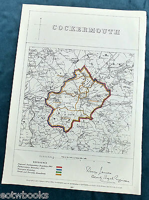 COCKERMOUTH -  Antique Map / Plan, Boundary Commissioners Report - 1868 .