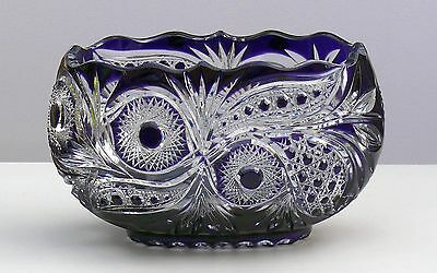 Huge Crystal BOWL Boat shape, L32 cm PURPLE-BLUE Cut to clear Overlay RUSSIA New