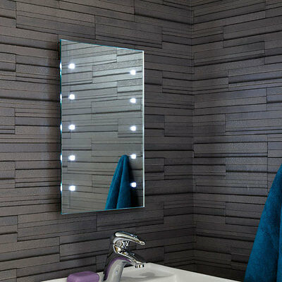 Bathroom Rectangular Mirror with Battery Powered LED Lights