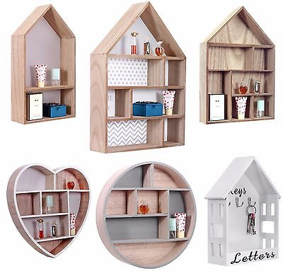 Craft Storage Unit Floating Wall Cube Storage Display Wooden Shelf House Shaped