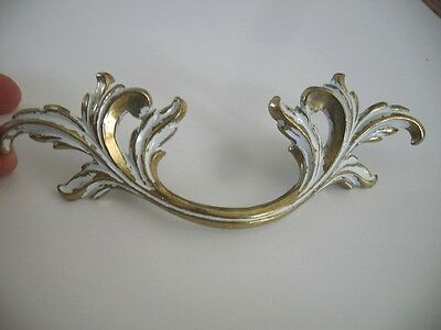 Vtg NOS White Brass Large Dresser Drawer Pulls French Provincial Victorian Leafy