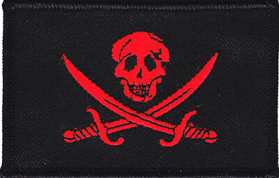 JOLLY ROGER PIRATE FLAG w/CROSSED SWORDS,Black w/Red,/Iron On Applique Patch
