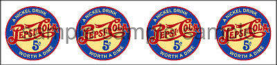 """(4) PEPSI VINTAGE STYLE WORTH A DIME  DECAL 1"""""""