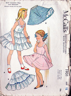 Vintage 1954 Crinoline Slips & Petticoats Sewing Pattern - Girl's Size 12