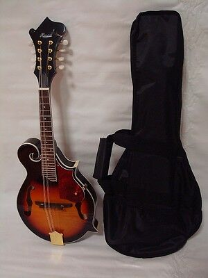 Hand Carved Solid Spruce Top F Style Mandolin, Free Gig Bag, Sunburst, Brand New