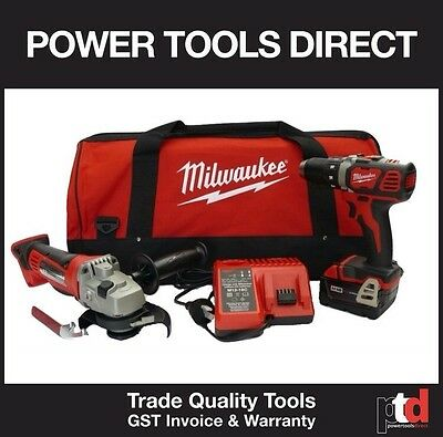 New Milwaukee Battery 18V Cordless Hammer Drill Grinder Battery Charger Combo