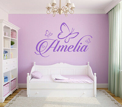 Girls Wall Sticker Decal Butterflies Bedroom Art Decor ANY Personalised Name