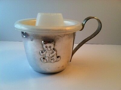 Vintage  TEDDY BEAR Silverplate Baby Cup With Sippy Cap