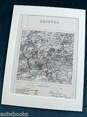 BRISTOL - Antique Map / Plan, in mount,  Boundary Commissioners Report, 1868