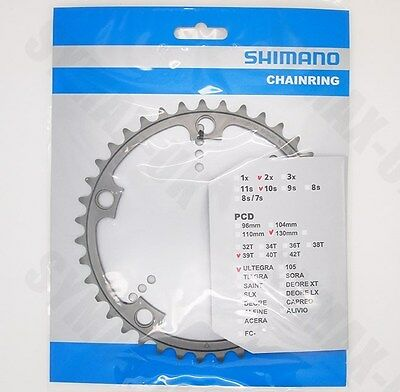 Shimano 39T 10-Speed Chainring for Ultegra FC-6600, 130mm BCD, Y1G339000