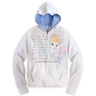 Tinker Bell Hoodie Women x Lg. White zip up Nwt Gift Very soft and warm !