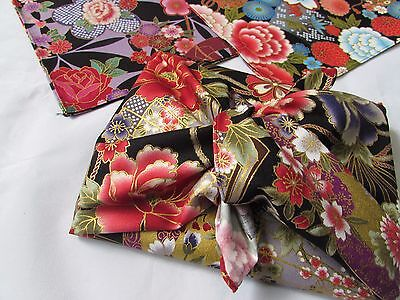 FUROSHIKI 7 pieces Japanese Wrap cloth Gold lame design From Japan New