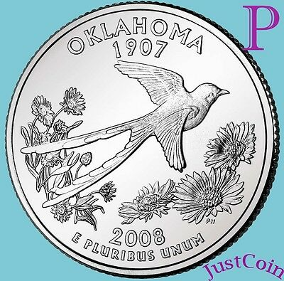 2008-P Oklahoma State (Ok) Quarter Uncirculated From U.s. Mint * State Quarters