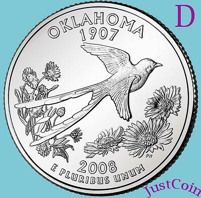 2008-D Oklahoma (Ok) State Quarter Uncirculated From U.s. Mint * State Quarters