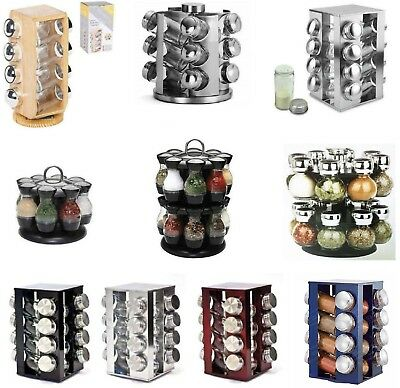 Spice Rack Carousel 16 / 8 Jars Wooden Stainless Steel Rotating Kitchen Storage