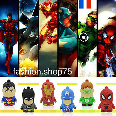 Clé Usb 8 Giga Super Heros batman Spiderman Captain America Superman
