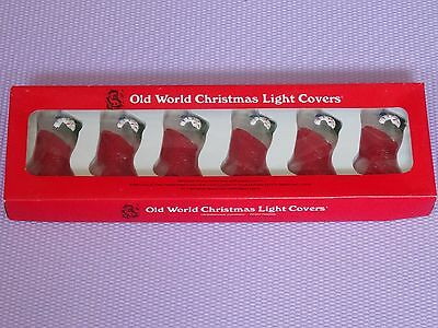 VINTAGE SET of 6 OLD WORLD GLASS CHRISTMAS STOCKING LIGHT COVERS FIGURINE
