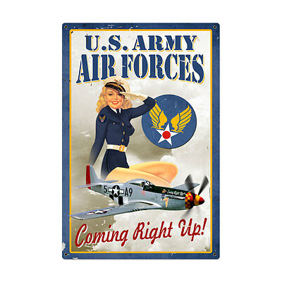 LARGE Air Force Pinup Vintage Metal Sign Sexy Girl 24 X 36 Steel Not Tin