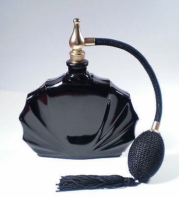 FRENCH PERFUME BOTTLE BLACK CLAM SHELL DESIGN WITH BLACK ATOMIZER