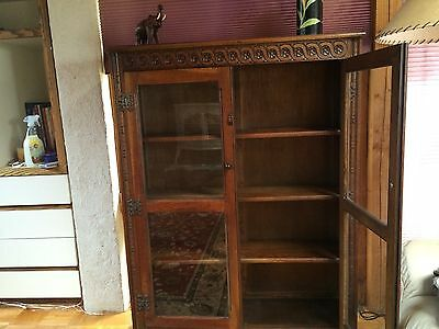 Antique oak Scottish bookcase with glass doors circa 1920