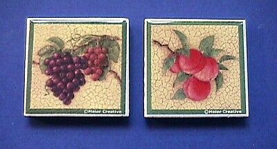 Ceramic TILE Refrigerator MAGNETS LOT Of 2 Fruit GRAPES & PEACHES Meier Creative