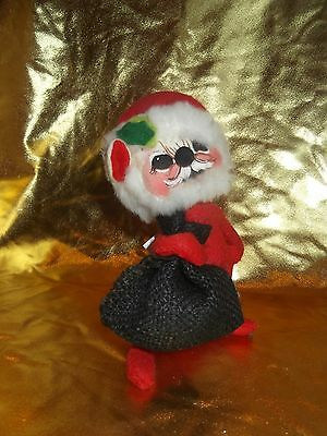 ANNALEE Mobiltee Dolls ~ Santa Mouse with Black Bag ~ 1965 ~  WITH TAG