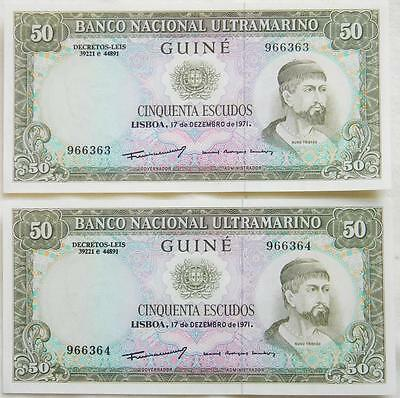 PORTUGUESE GUINEA-1971 50 Escudos-2 consequtive number notes Crisp Uncirculated!