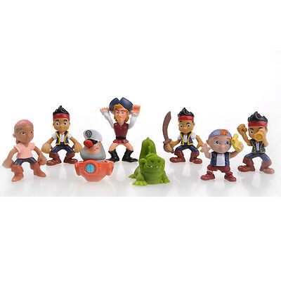 """Brand New 3""""Jake and the Neverland Pirates 8 Piece Figures Set"""