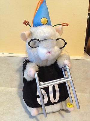 Dancing Hamster Birthday Beatles Song 50 w Walker  Working Batteries Gemmy