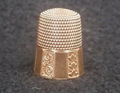Antique 14kt Gold Thimble Size 9 Simons Brothers Etched Panels Signed