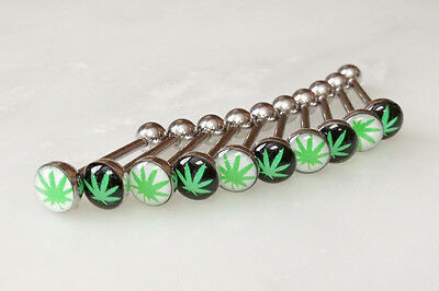 10pcs Marijuana Pot Leaf Dome Logo 14g Tongue Ring Wholesale Body Jewelry (t220)