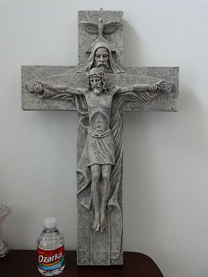 "24"" HOLY TRINITY WALL CROSS FATHER SON JESUS SPIRIT CRUCIFIX Christian"