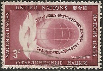 1956 UNITED NATIONS Stamp USED 3c WORLD AND FLAME NT-NY 47