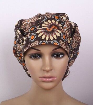 2016 Women Brown Flowers Petals Printing Scrub Cap Surgery Medical Surgical Hat