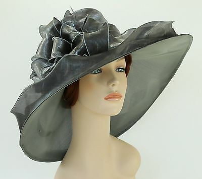 New Church Kentucky Derby Wedding Organza Wide Brim Dress Hat 3546 Silver