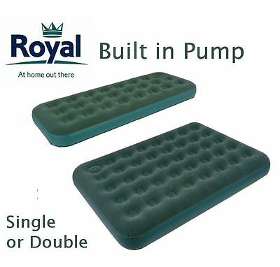 Royal SINGLE DOUBLE INFLATABLE FLOCKED AIR BED BUILT IN PUMP CAMPING MATTRESS