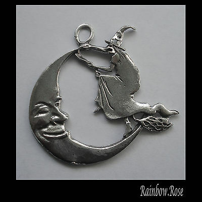 PEWTER CHARM #401 Witch & Moon large (65mm x 62mm)