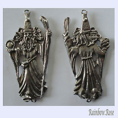 PEWTER CHARM #412 WIZARD huge 66mm x 33mm 2 bails Double Sided  Joiner