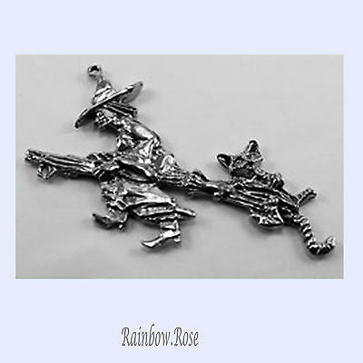 PEWTER CHARM #420 WITCH FLYING BROOM CAT 2 bails DOUBLE SIDED
