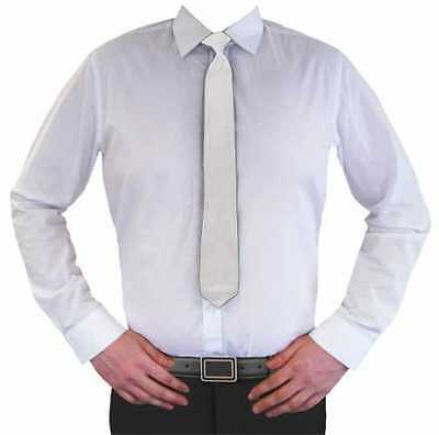 Plain White Clip-On Neck Ties Tie Wedding Uniform Security Doorman Costume Party