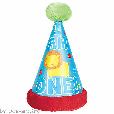 Deluxe Wild Fun To Be One Blue Boy's Happy 1st Birthday Party Fabric Cone Hat