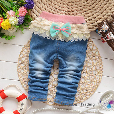 New Cute Baby Clothes Toddler Girls Pants Baby Jeans 100% Cotton Soft Denim