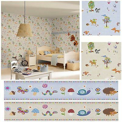 Woodland Animals Wallpaper & Borders - Bedroom & Nursery – Sand, Neutral, Blue