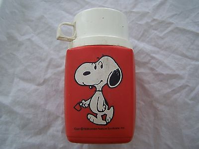 vintage SNOOPY on red plastic KING-SEELEY THERMOS for metal Lunchbox
