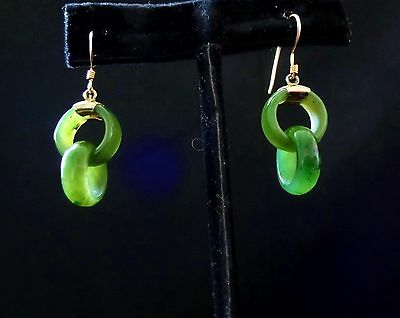 VINTAGE CHINESE GREEN JADE EARRINGS DEVIL'S WORK DOUBLE CIRCLES