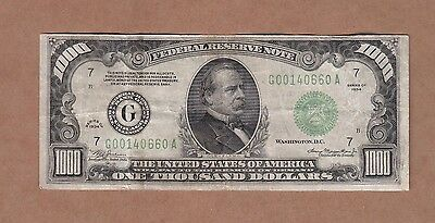 Fr. 2211G Federal Reserve Bank 1934 $1000 One Thousand Dollar Bill (Chicago)