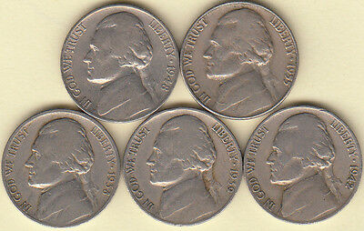 1938-D 1939-S 1942-D 1948-S 1955-P JEFFERSON NICKELS NICE CIRCULATED FAST SHIP!!