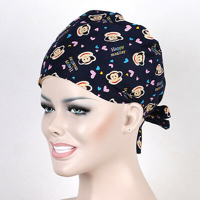 Doctor/Nurses Black Cute Monkey Printing Surgery Medical Surgical Hat/Cap Chef