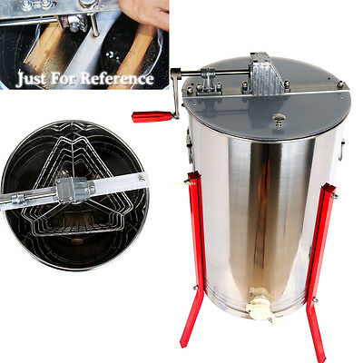 """Manual 3 Frame Stainless Steel 24"""" Drum Bee Honey Extractor Honeycomb"""